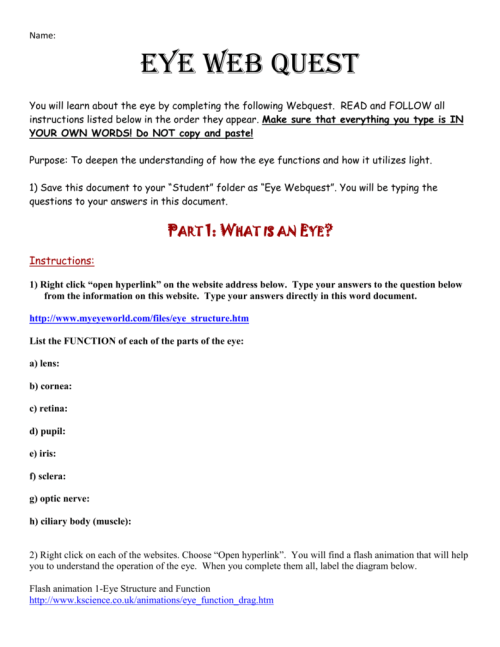small resolution of name eye web quest you will learn about the eye by completing the following webquest read and follow all instructions listed below in the order they