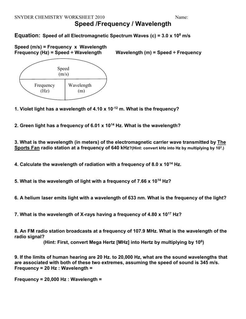 hight resolution of 28 Wavelength Frequency And Energy Worksheet Answers - Free Worksheet  Spreadsheet