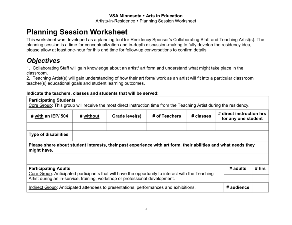 Planning Session Worksheet