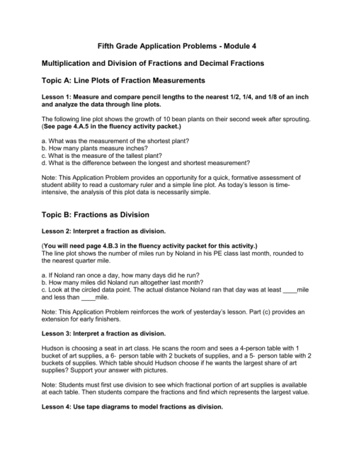 small resolution of fifth grade application problems module 4 multiplication and division of fractions and decimal fractions topic a line plots of fraction measurements