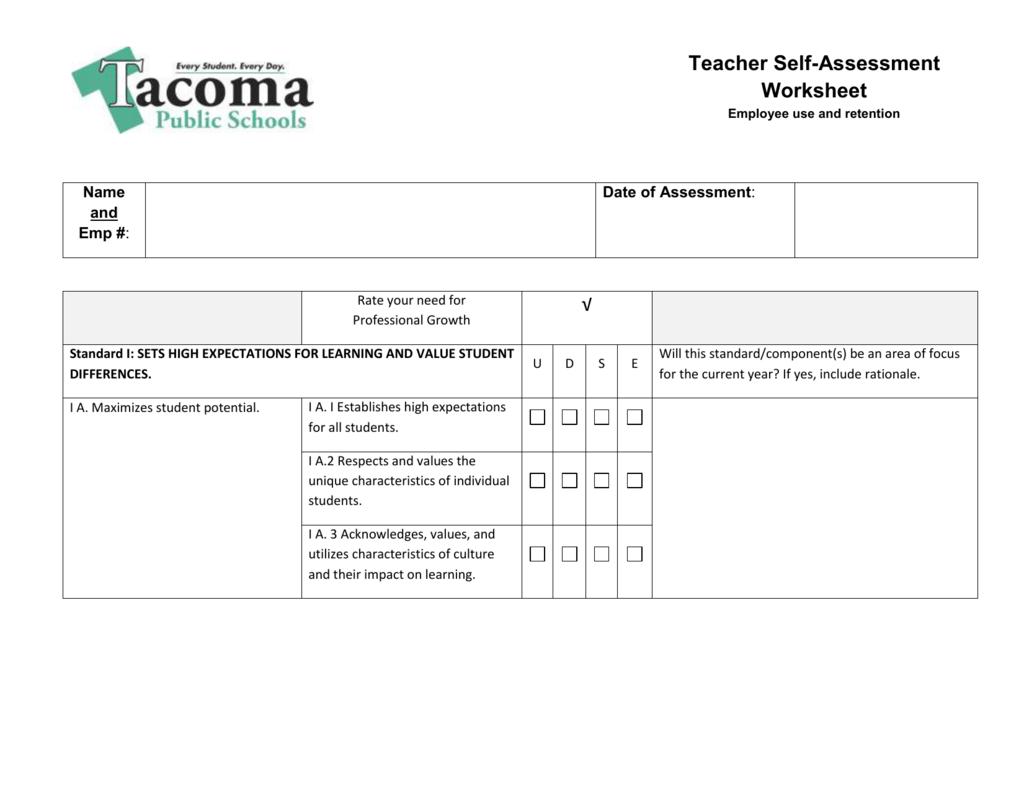 Self Assessment Worksheet For Students