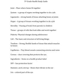 5th Grade Health Study Guide [ 1024 x 791 Pixel ]