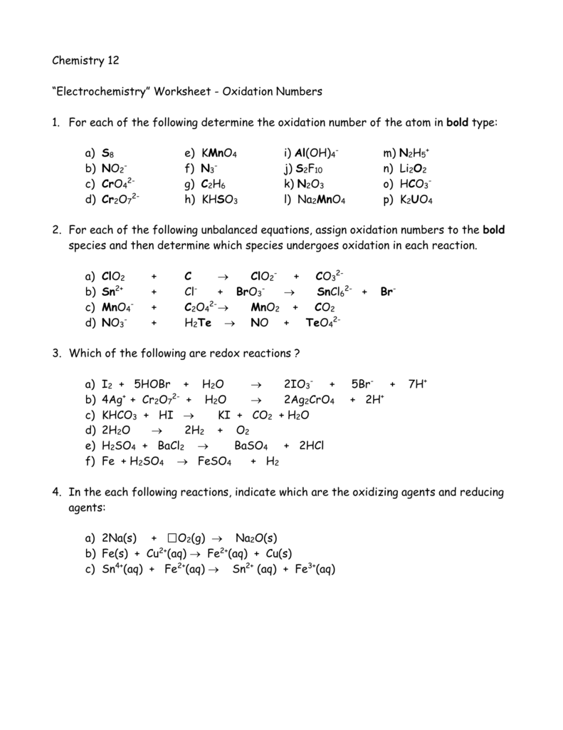Oxidation Numbers Worksheet Answers : oxidation, numbers, worksheet, answers, Worksheet, Oxidation, Numbers