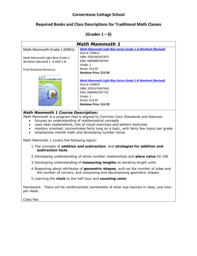 medium resolution of Math Mammoth 1 - Cornerstone Cottage School