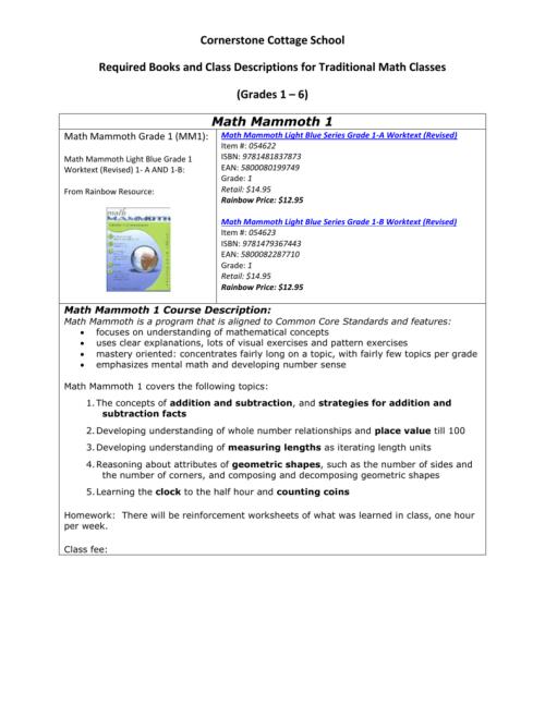 small resolution of Math Mammoth 1 - Cornerstone Cottage School