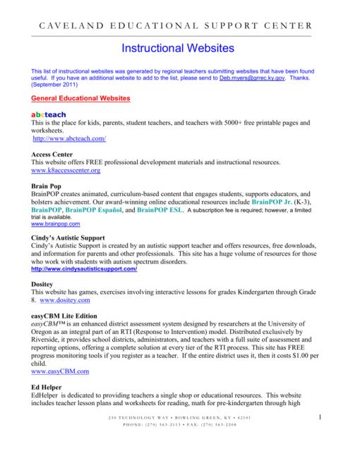small resolution of Instructional Websites - Barren County Schools