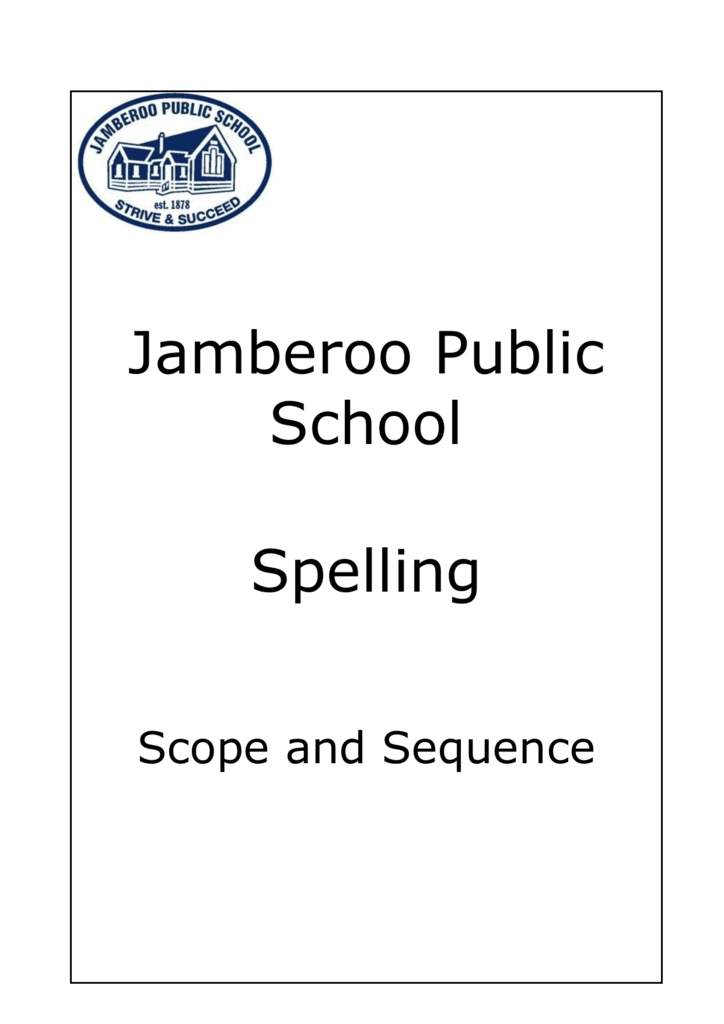 Spelling Scope and Sequence