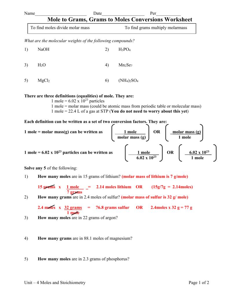 Mole Conversion Practice Worksheet