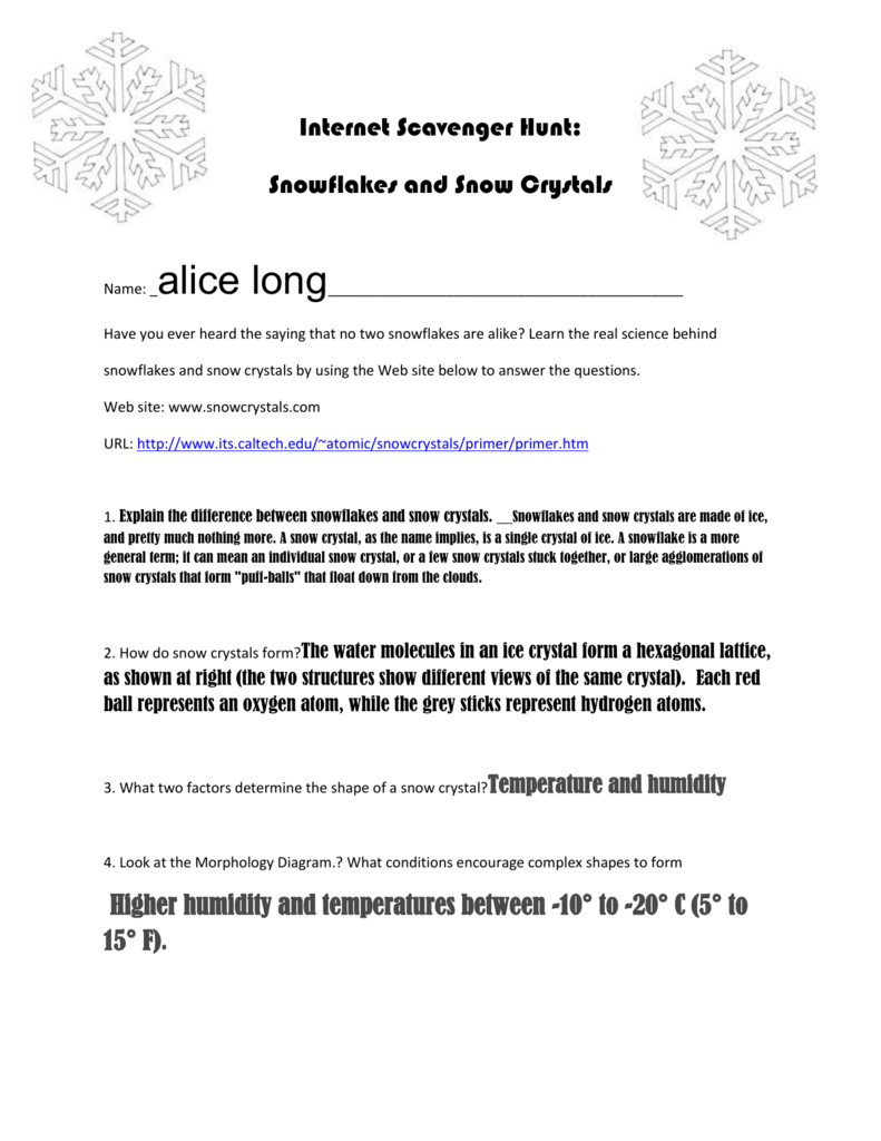 medium resolution of internet scavenger hunt snowflakes and snow crystals name alice long