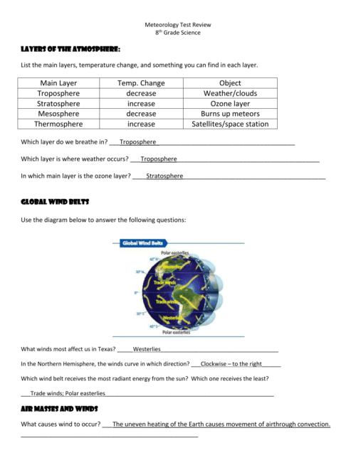 small resolution of Meteorology Test Review 8th Grade Science Layers of the
