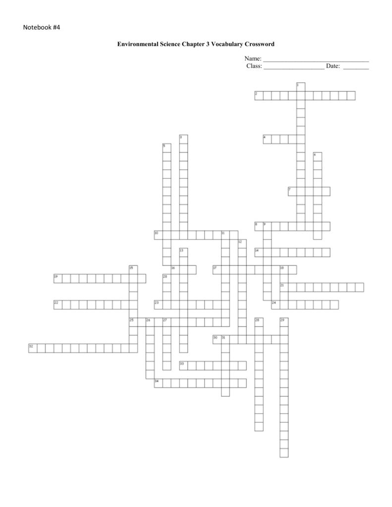 Environmental Science Chapter 3 Vocabulary Crossword