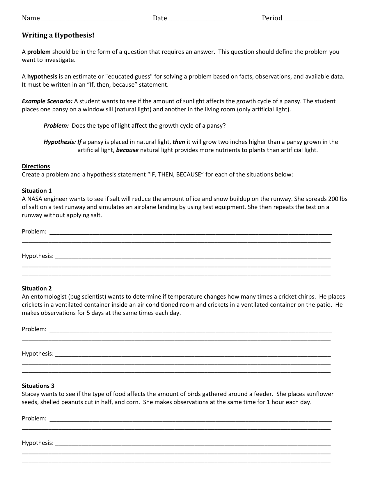 Problem Hypothesis And Variables Worksheet