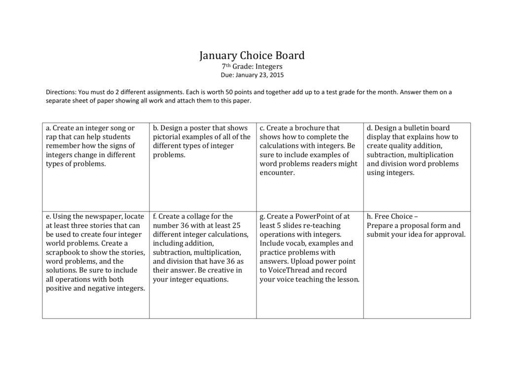 January Choice Board 7th Grade Integers Due January 23