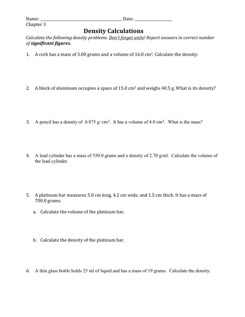 medium resolution of Density Worksheets