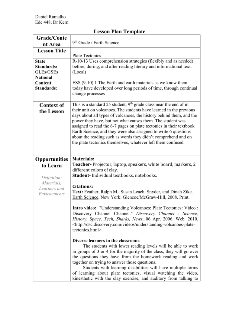 medium resolution of Lesson Plan Template - URI