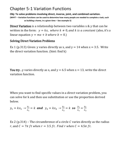 small resolution of Direct Inverse And Joint Variation Worksheet Answers - Promotiontablecovers