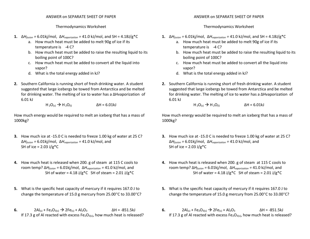 Thermodynamics Worksheet