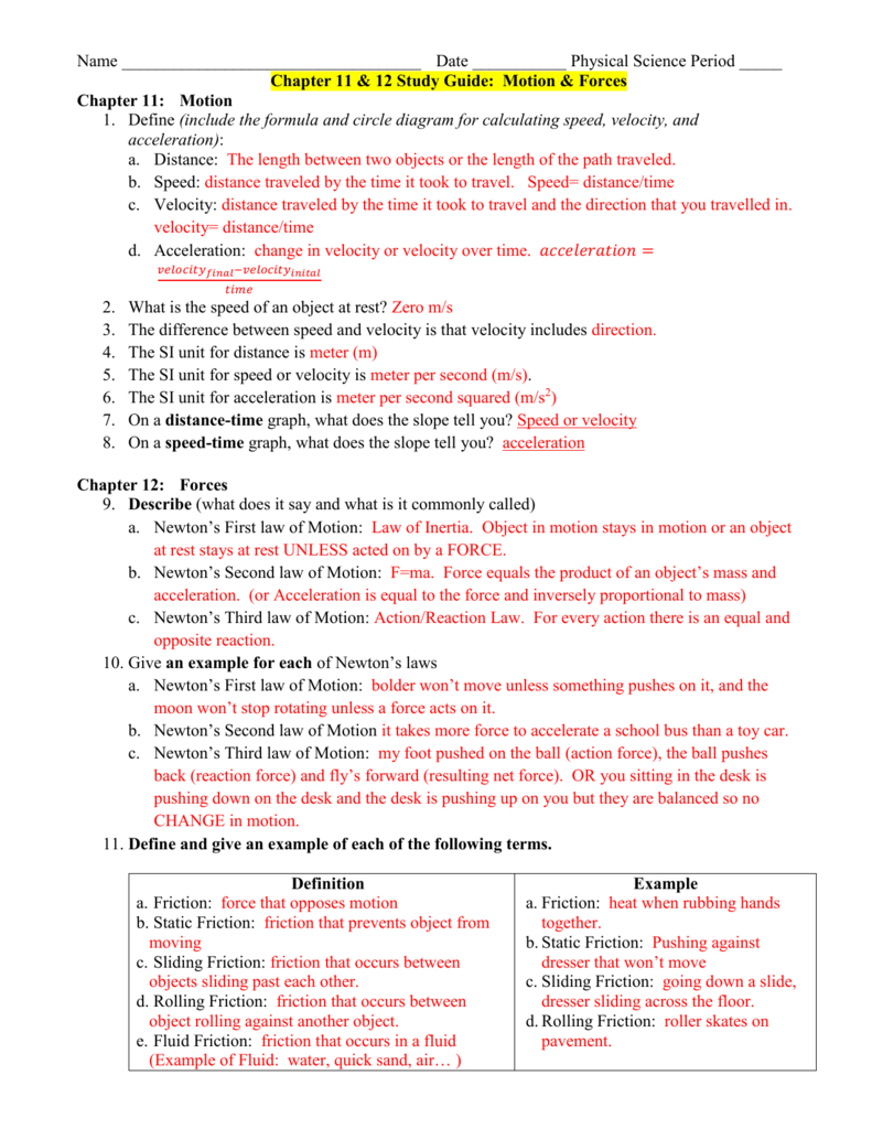 hight resolution of date physical science period chapter 11 12 study guide motion forces chapter 11 motion 1 define include the formula and circle diagram