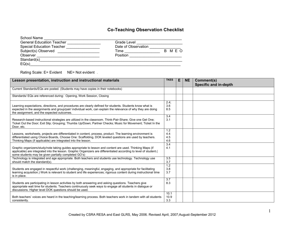 Co Teaching Observation Checklist