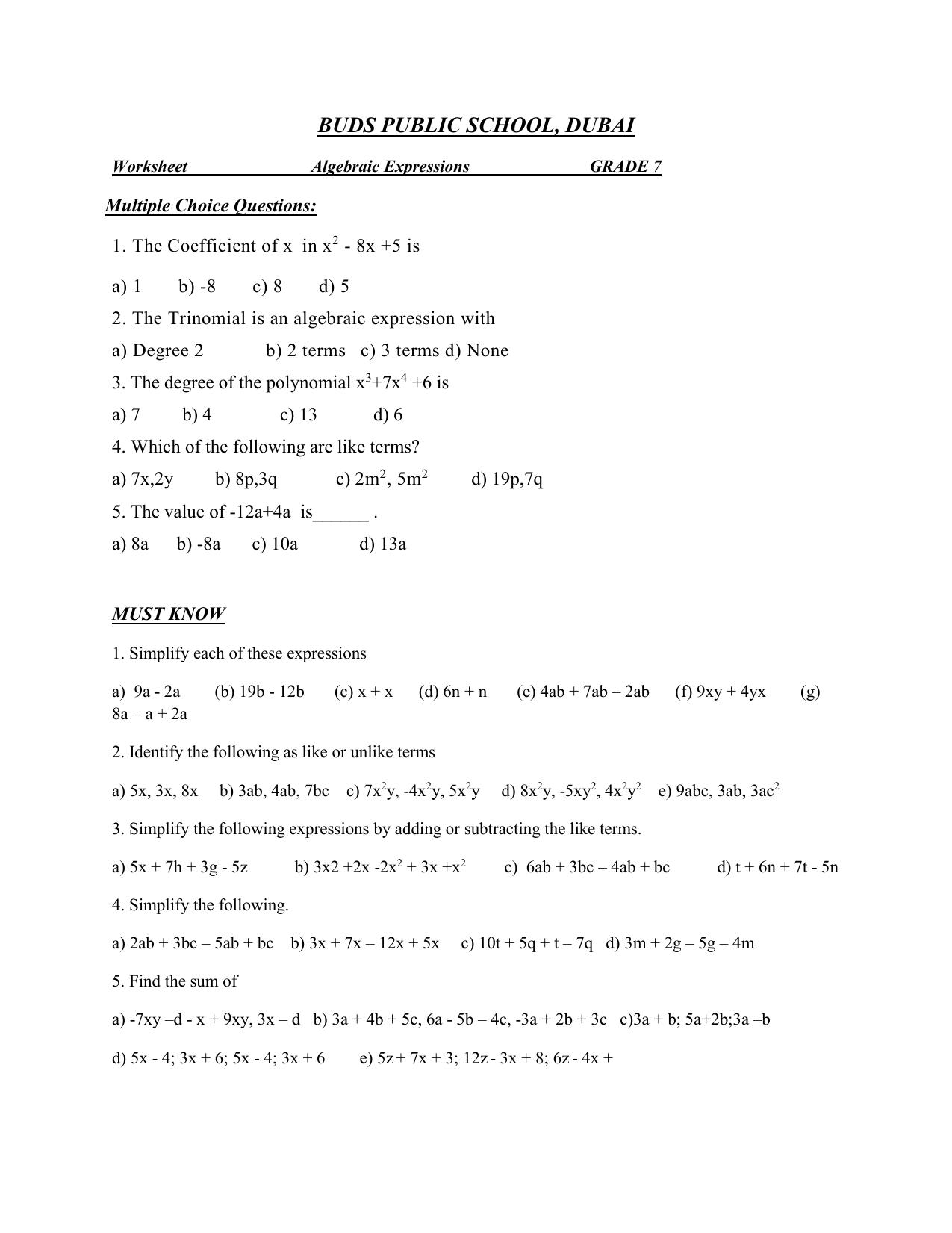 hight resolution of Worksheet -Algebraic Expressions -GRADE 7