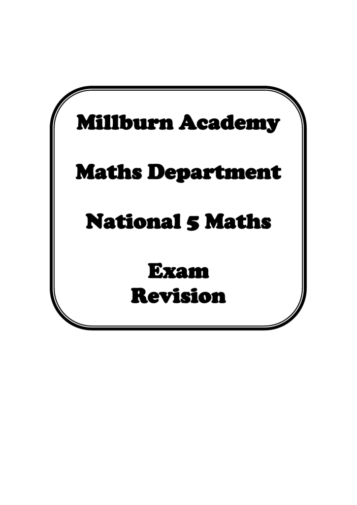 N5 Maths Exam Revision Booklet
