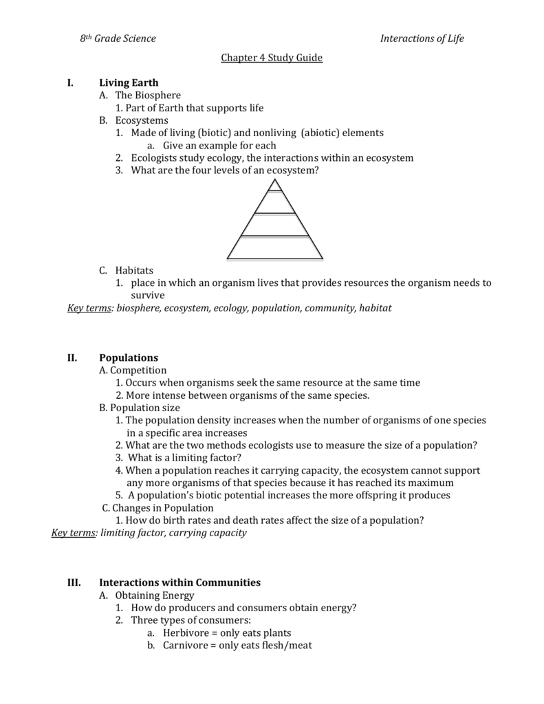 medium resolution of 8th Grade Science Interactions of Life Chapter 4 Study Guide Living
