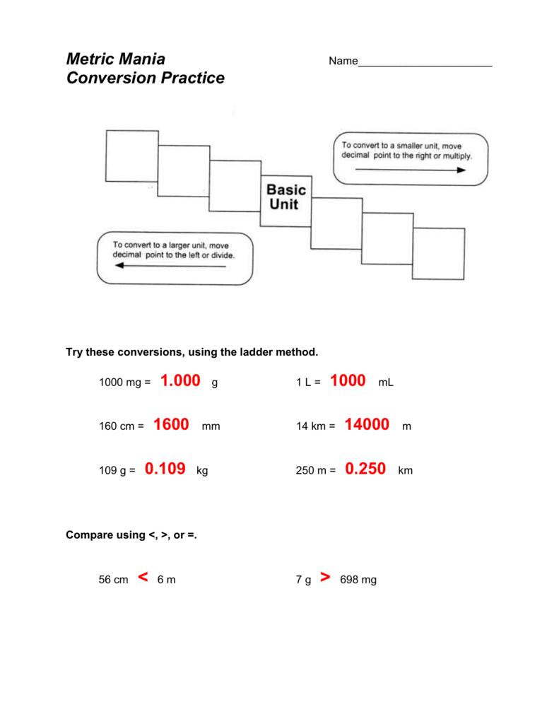 hight resolution of Metric Mania - Grade 9 Science