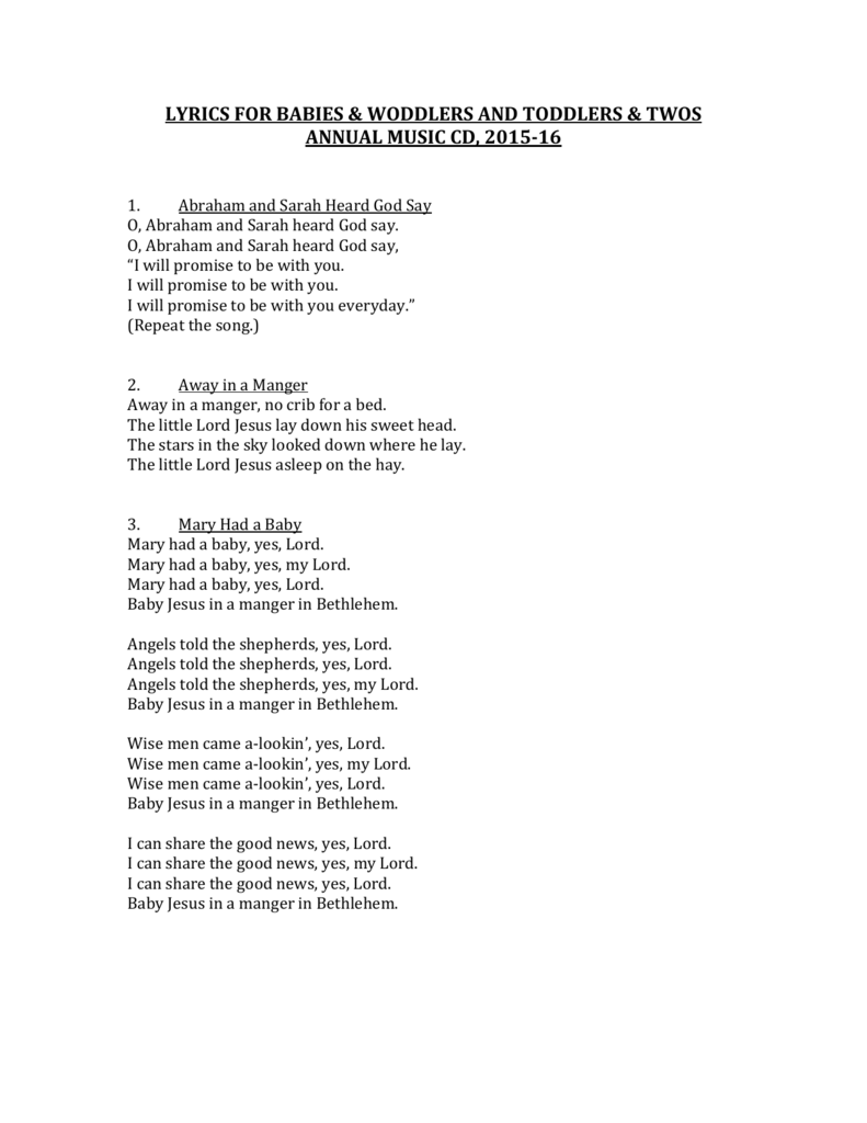 Baby Jesus Baby Jesus I Love You Lyrics : jesus, lyrics, Lyrics, Babies, Woddlers/Toddlers, Music