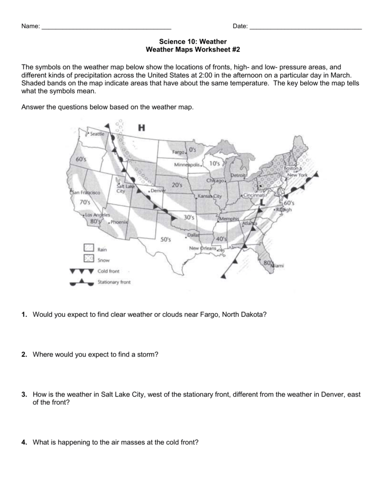 hight resolution of 29. Weather Map Worksheet #2