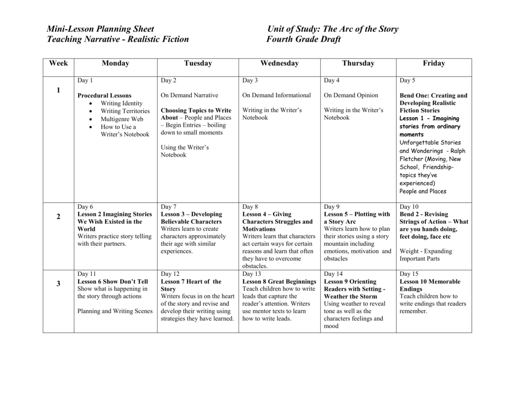 Narrative Writing Unit Calendar 4th Grade