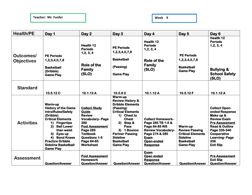 Lesson Plan Week 9