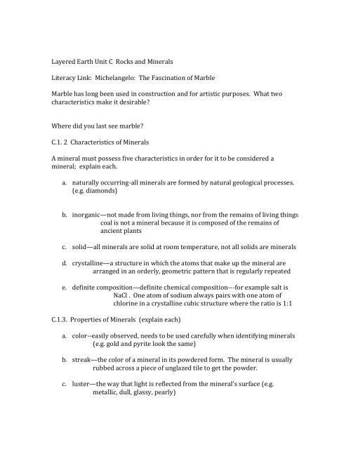 small resolution of Mineral Characteristics Worksheet   Printable Worksheets and Activities for  Teachers