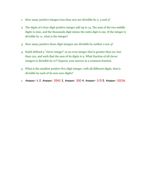 small resolution of divisibility word problems