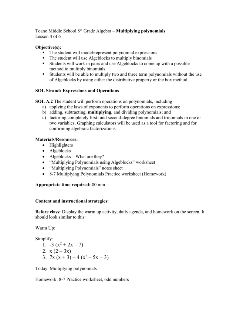 medium resolution of Multiplying Polynomials LP (lesson 4)