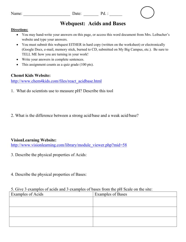 medium resolution of Webquest: Acids and Bases