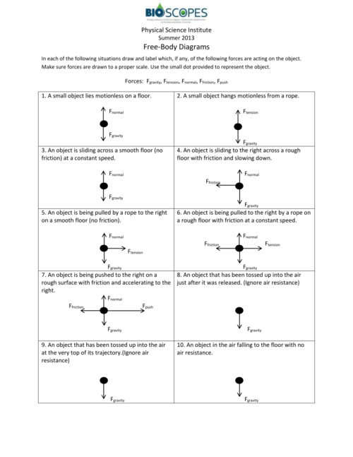 small resolution of free body diagrams worksheet answer key drawing free body force diagrams worksheet along with force diagram