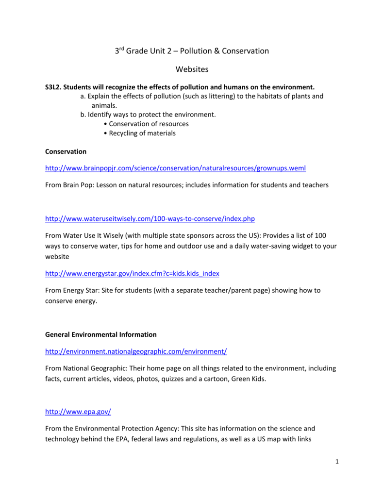 medium resolution of 3rd Grade Unit 2 - Pollution and Conservation