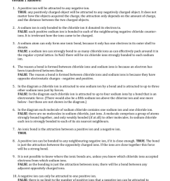 chem 11 hl ionic bonding quiz review version 1 answers 1 a positive ion will be attracted to any negative ion true any positively charged object will  [ 791 x 1024 Pixel ]