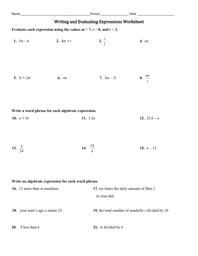 medium resolution of Evaluate The Expression Worksheet - Worksheet List