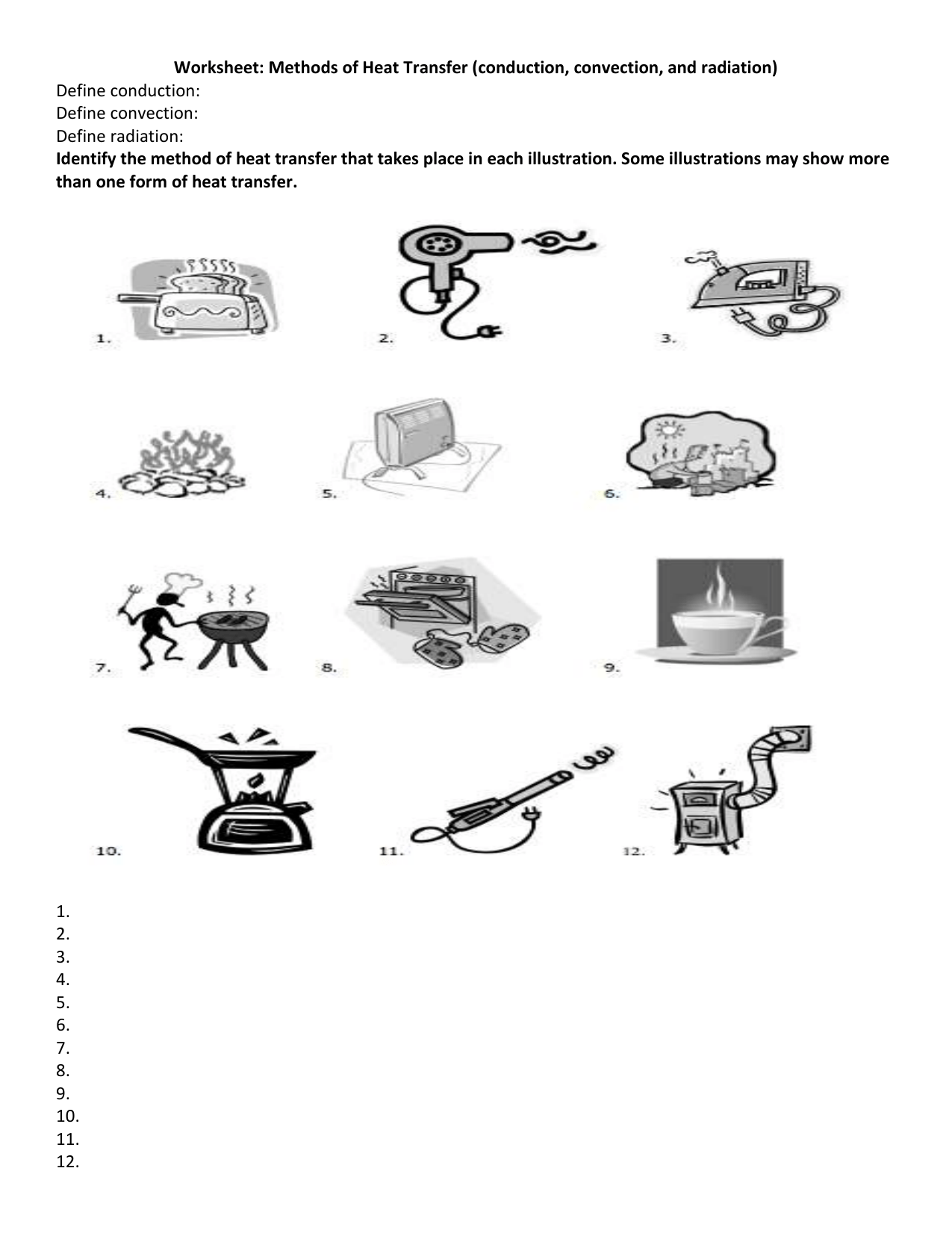 Methods Of Heat Transfer Worksheet