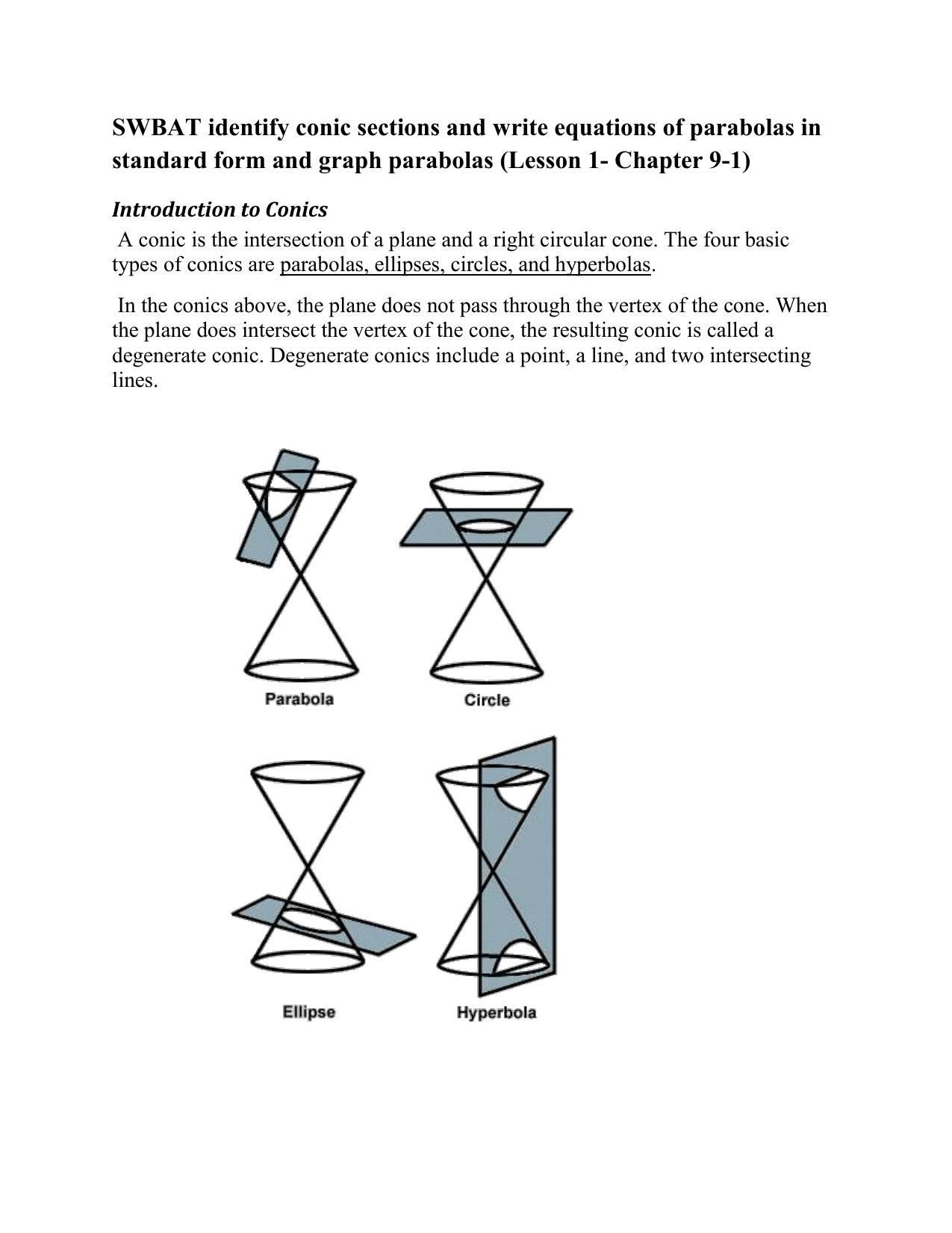 Equation Of A Line Circle Ellipse Parabola Hyperbola