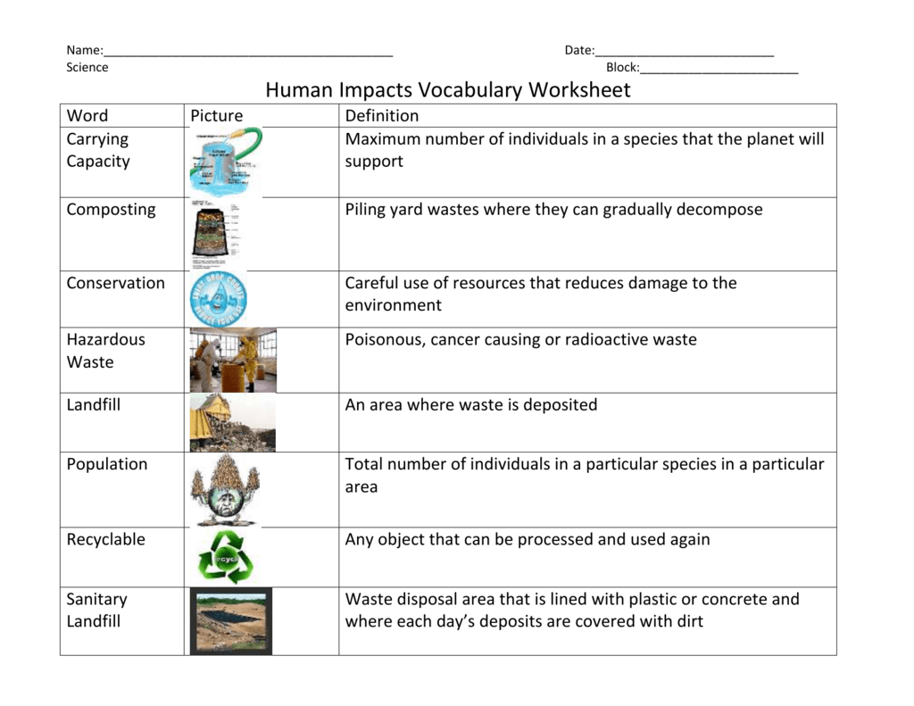 Name Date Science Block Human Impacts Vocabulary Worksheet