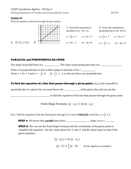small resolution of Writing Equations Of Parallel And Perpendicular Lines Worksheet -  Promotiontablecovers