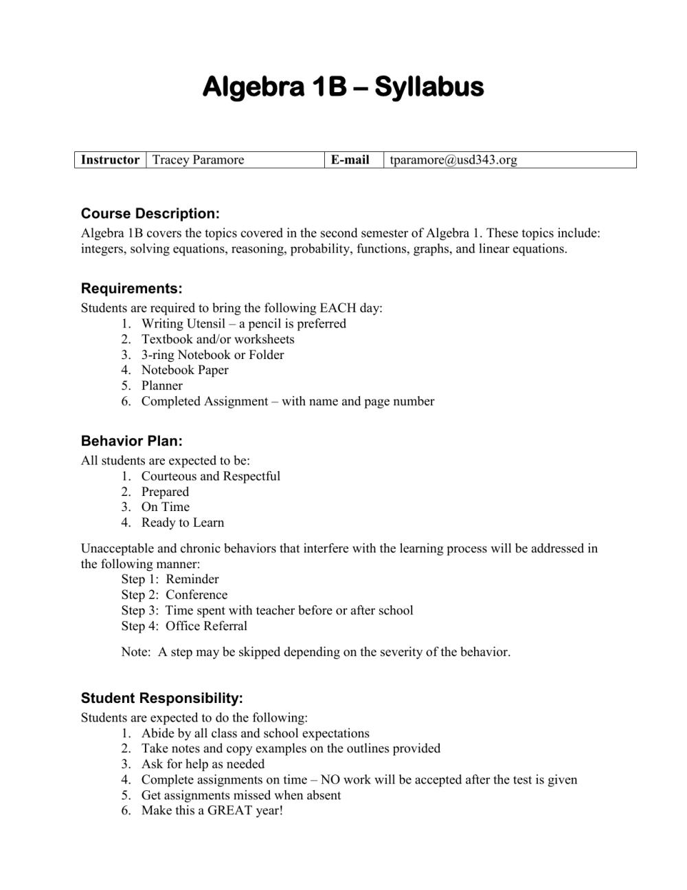 medium resolution of Algebra 1B Syllabus