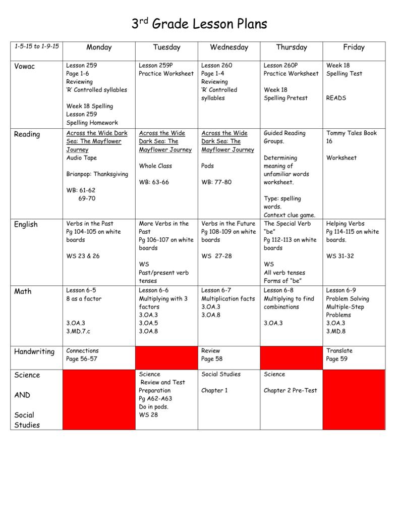 medium resolution of 3rd Grade Lesson Plans 1-5-15 to 1-9