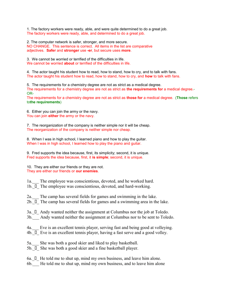 hight resolution of 34 Parallel Structure Worksheet With Answers - Worksheet Resource Plans