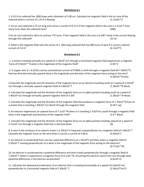 small resolution of worksheet 8 1 1 a 25 0 cm solenoid has 1800 loops and a diameter of 3 00 cm calculate the magnetic field in the air core of the solenoid when a current of