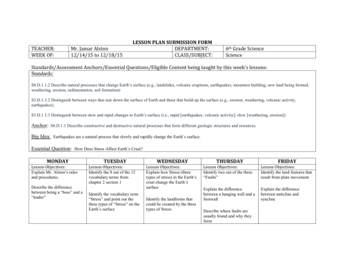 small resolution of LESSON PLAN SUBMISSION FORM TEACHER: Mr. Jamar Alston