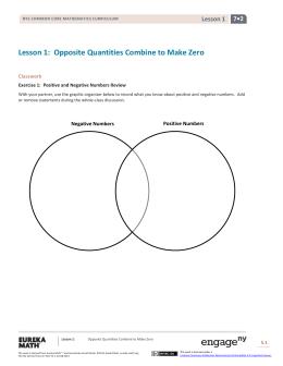 Lesson 1: Opposite Quantities Combine to Make Zero