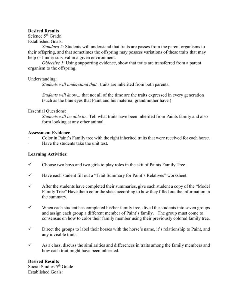 medium resolution of Desired Results Science 5th Grade Established Goals: Standard 5